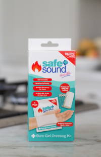 Safe and Sound Health's Burn Gel Dressing Kit for the emergency treatment of minor burns and scalds