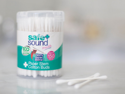 Box of Safe and Sound Health's paper stem cotton buds
