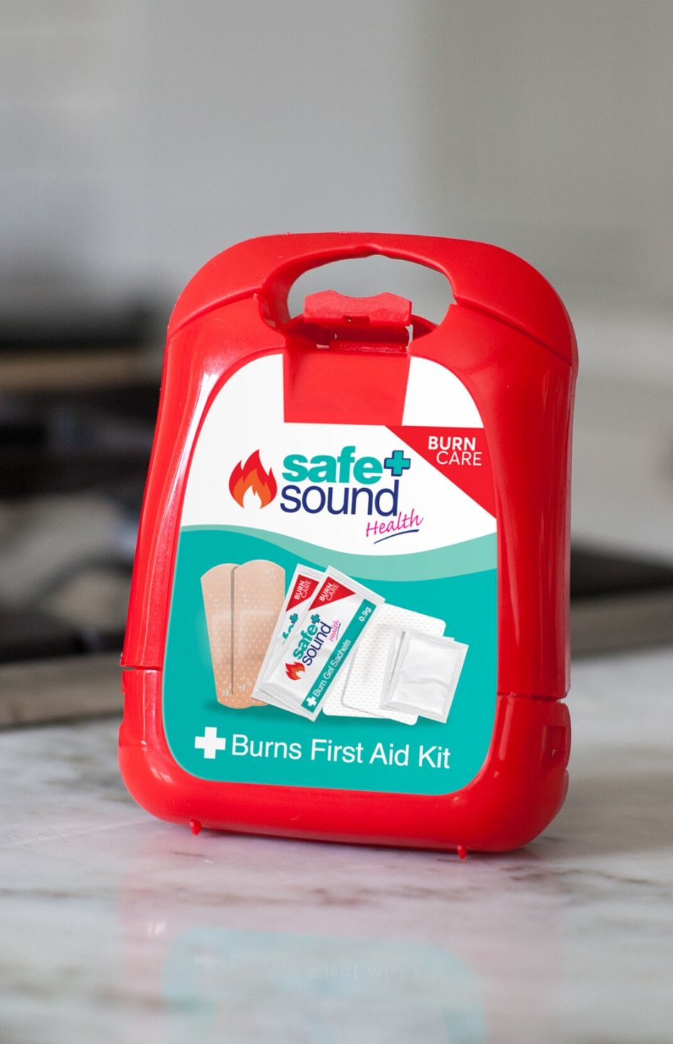 Safe and Sound Health's burn's first aid kit for the kitchen and home