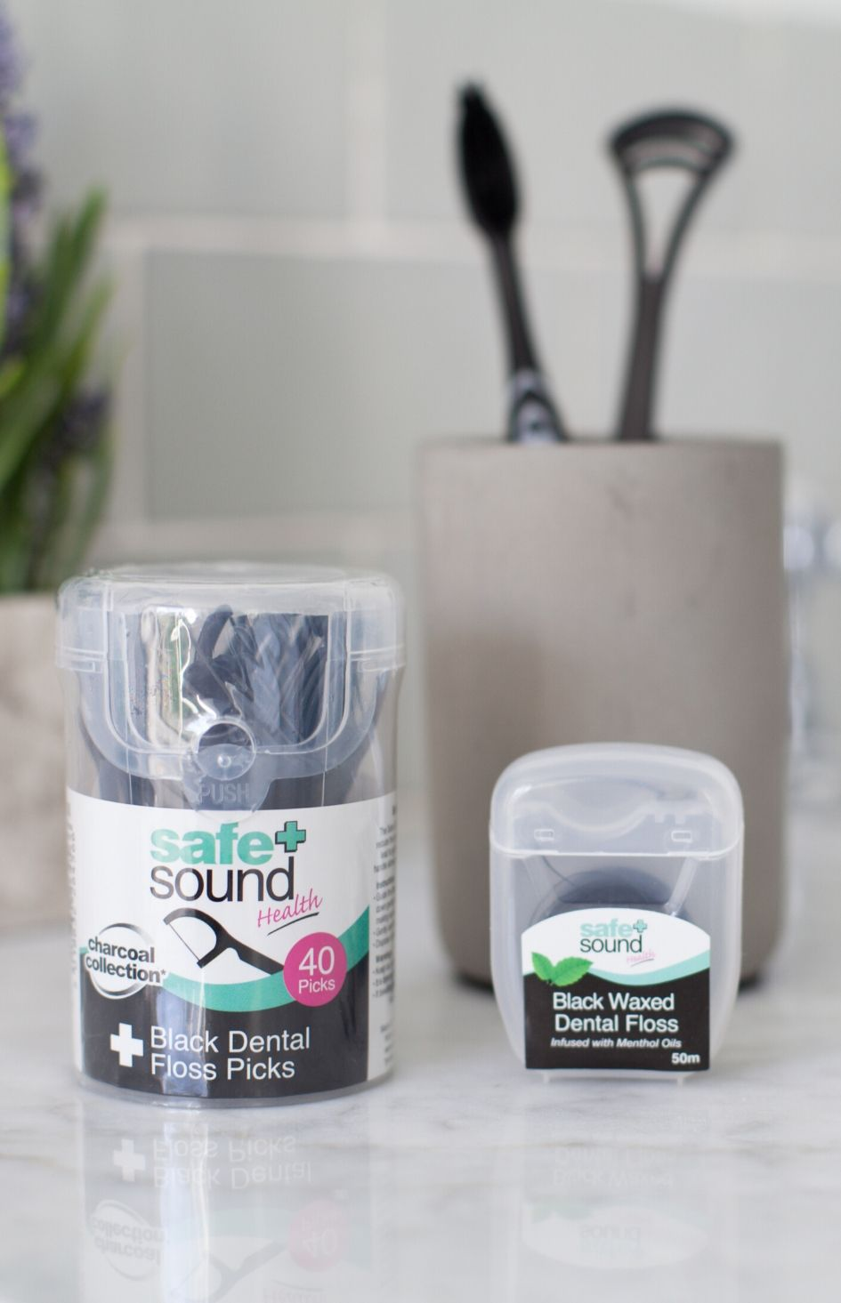 Charcoal Waxed Floss by Safe+Sound Health