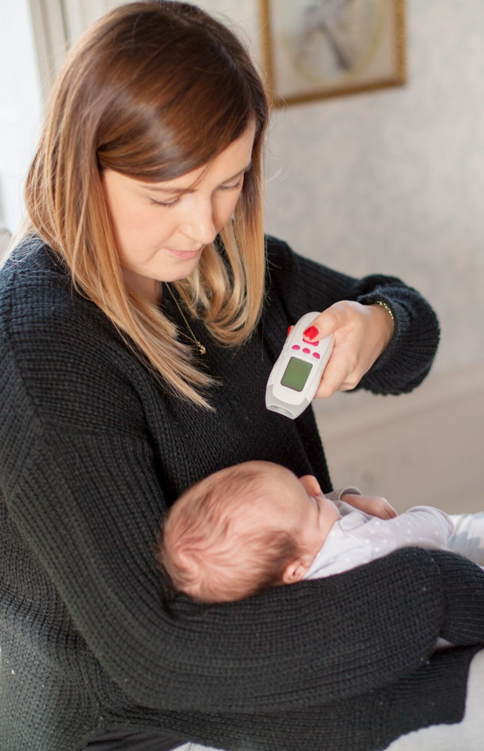 Safe and Sound Health's no-contact forehead thermometer