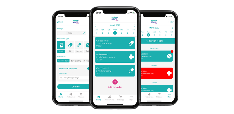 Safe and Sound Health's Pill Reminder App helps organise multiple medications and set up alerts for even the most complicated medication schedules