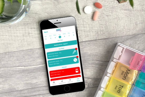 Keep track of missed and taken medications with the medications record in Safe and Sound Health's Pill Reminder App