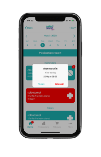 Safe and Sound Health's Pill Reminder App records taken or missed medications