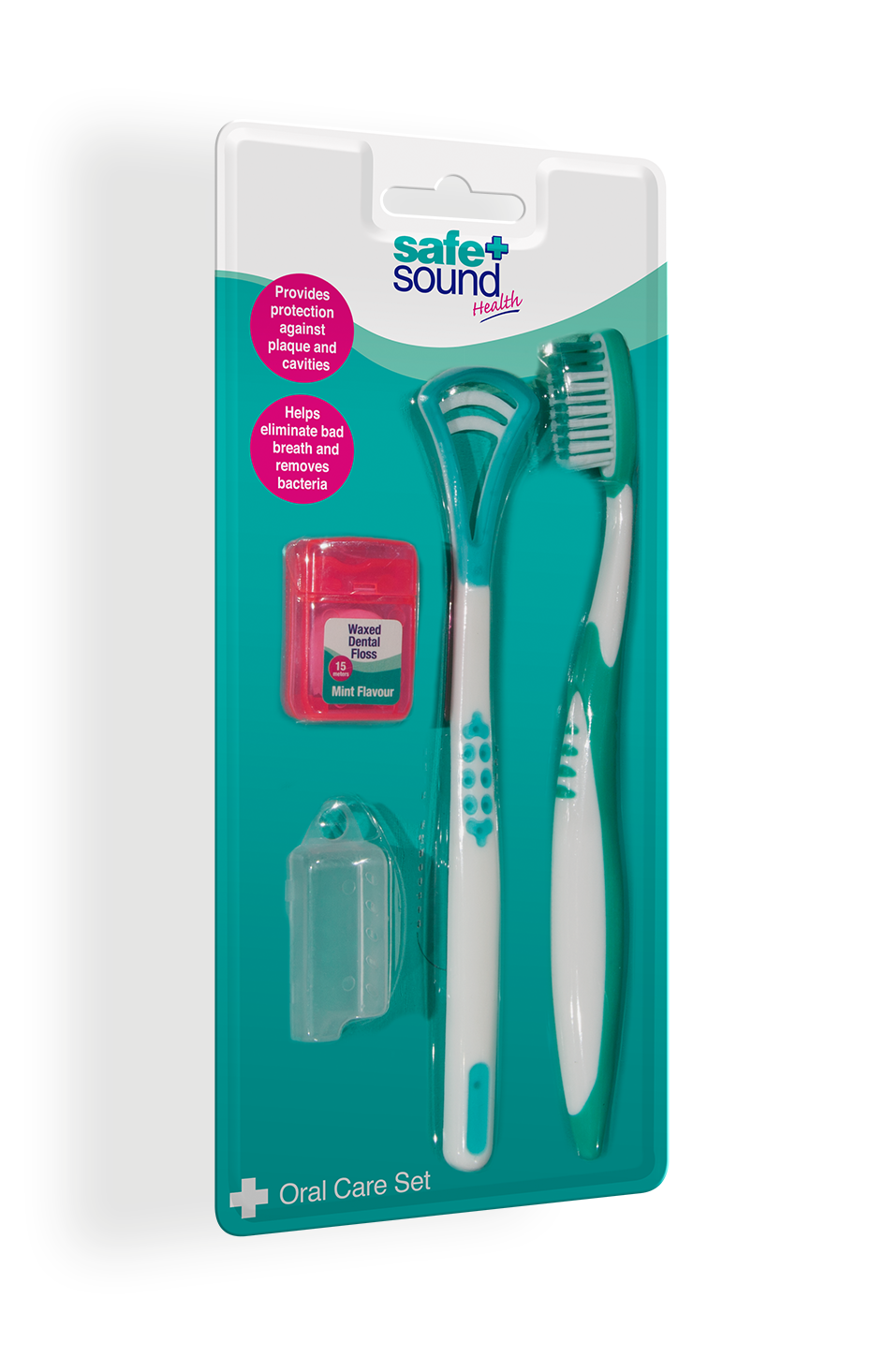 Safe and Sound Health Manual Toothbrush, Dental Floss and Tongue Cleaner Oral Care Set