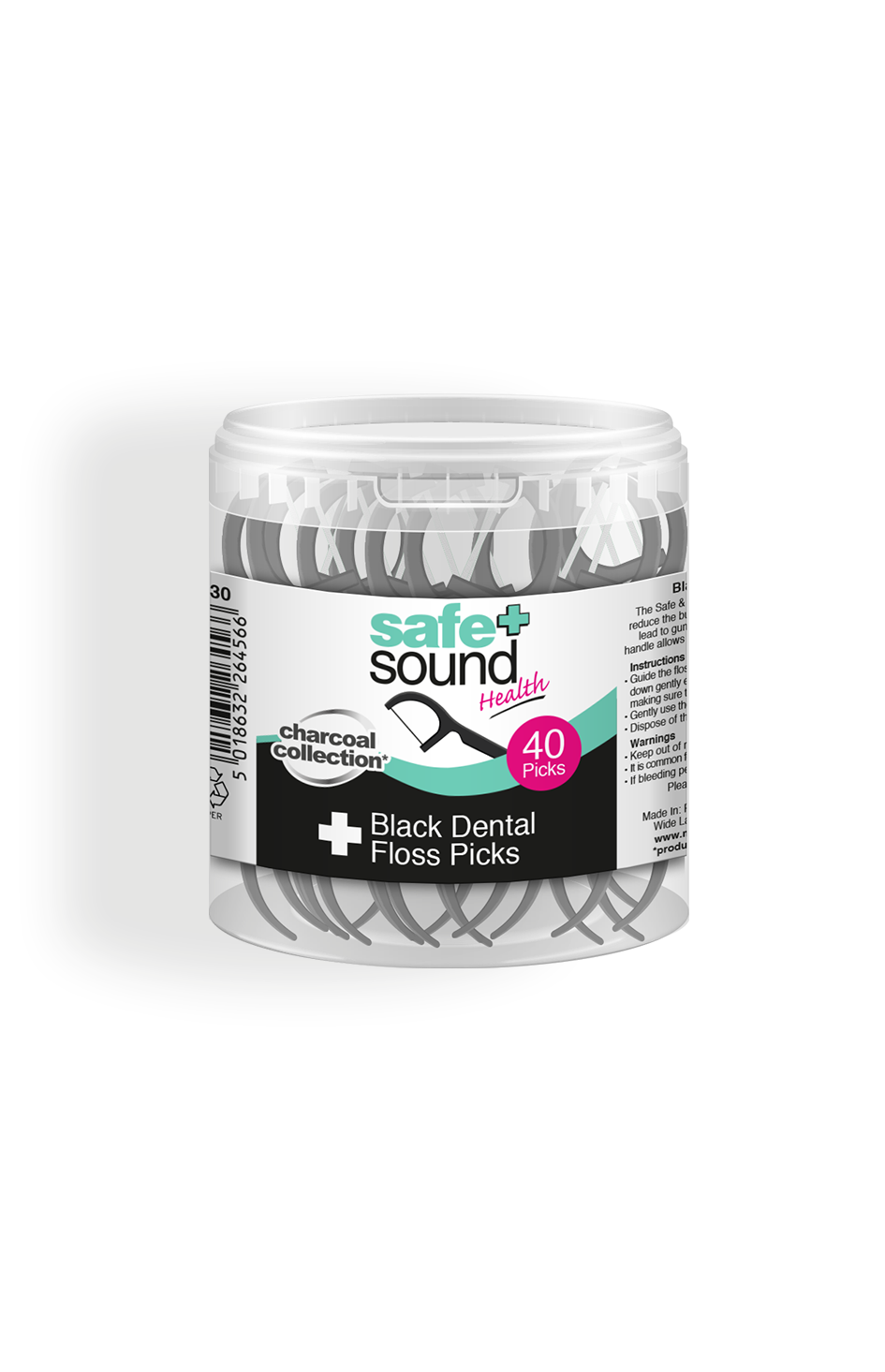 Safe and Sound Health Black Dental Floss Picks