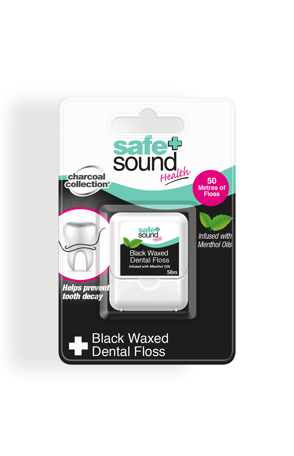 Safe and Sound Health Black Waxed Dental Floss