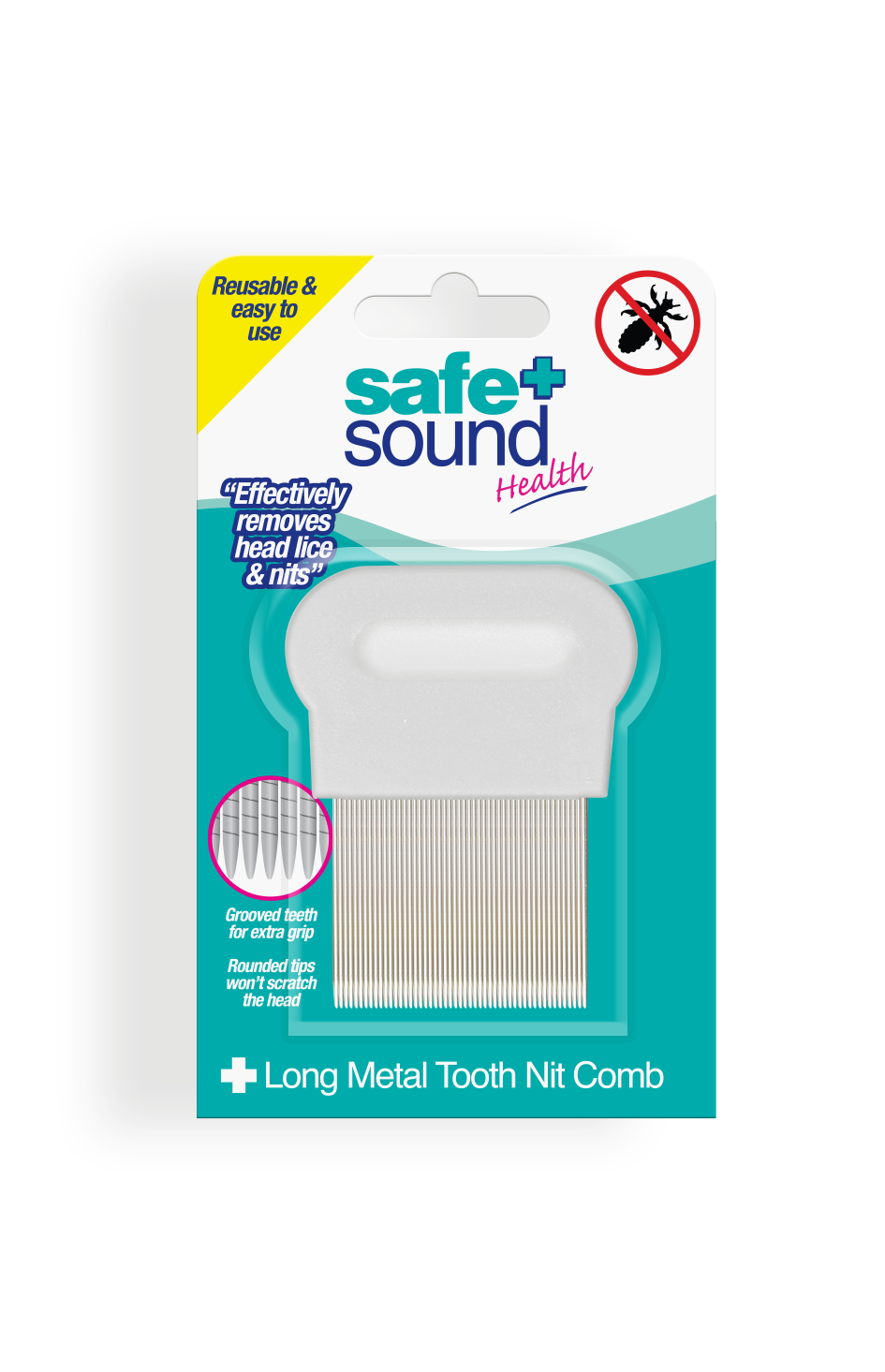 Safe and Sound Health Long Tooth Metal Nit Comb