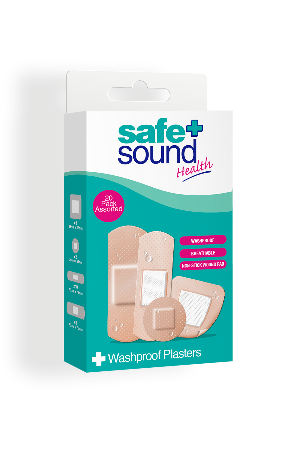 Safe and Sound Health pack of 20 Assorted Washproof Plasters