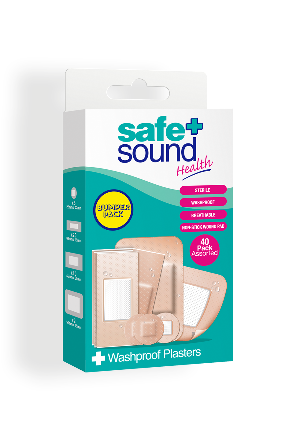 Safe and Sound Health pack of 40 Assorted Washproof Plasters
