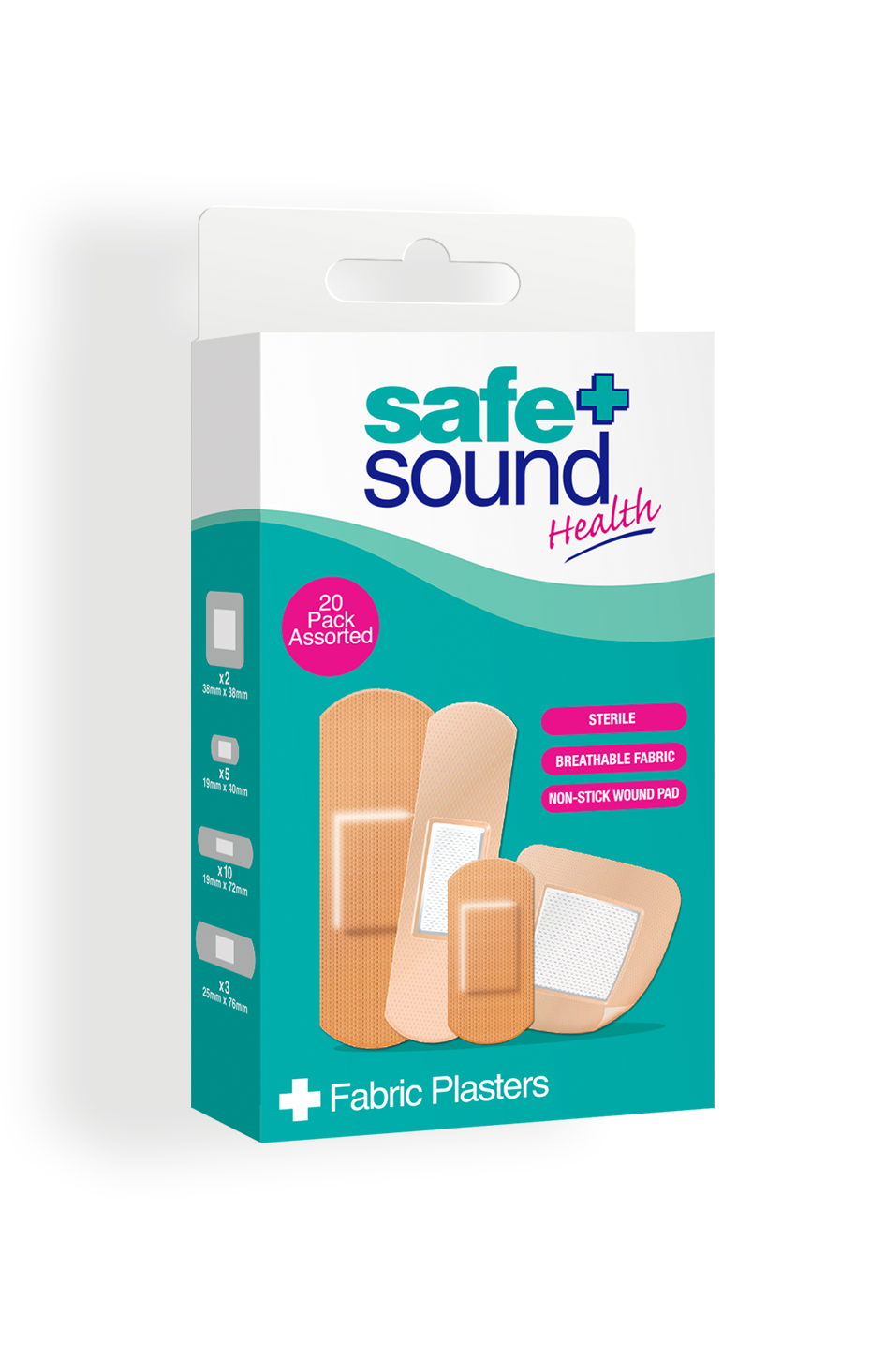 Safe and Sound Health pack of 20 Assorted Fabric Plasters