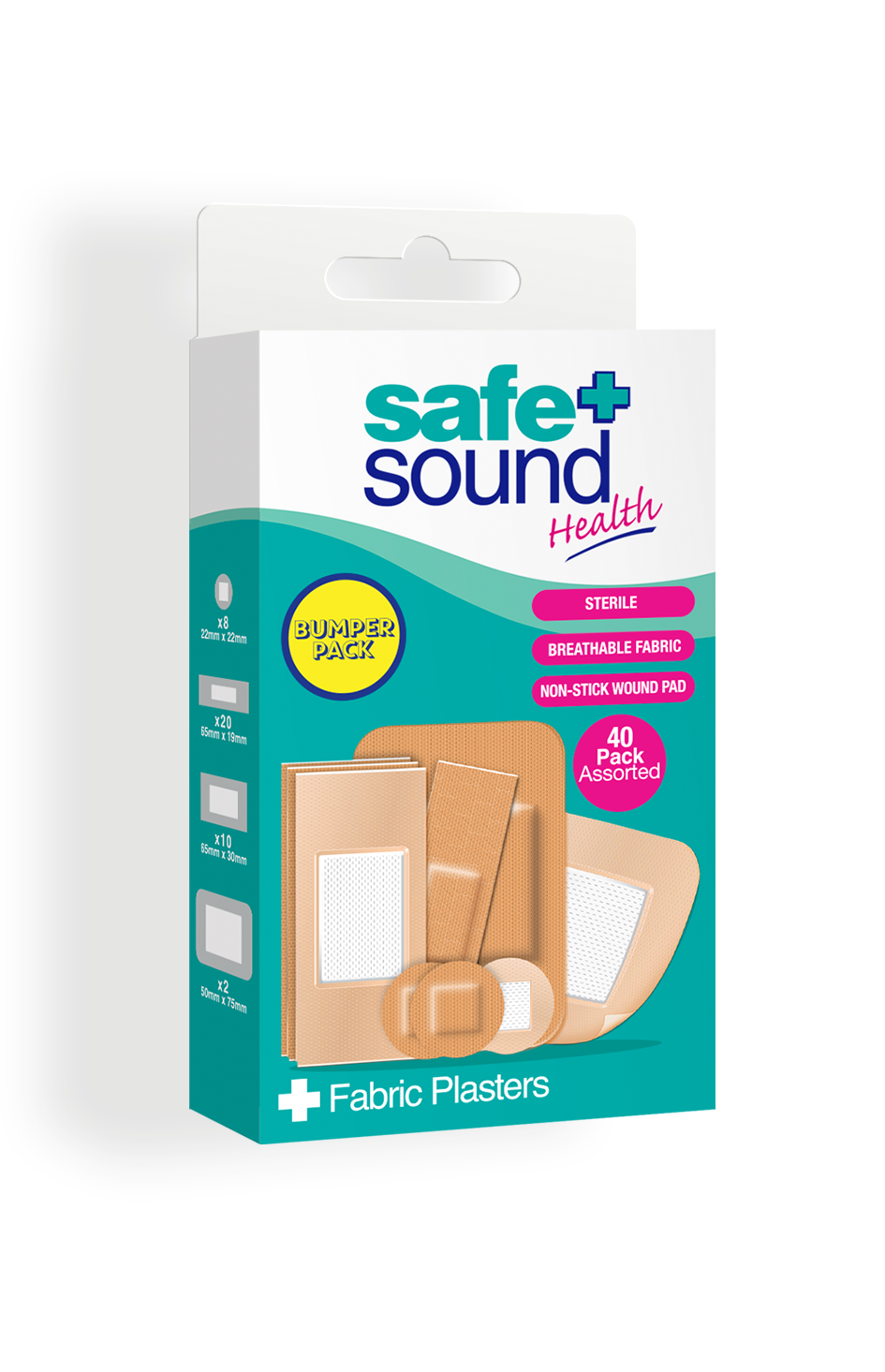 Safe and Sound Health pack of 40 Assorted Fabric Plasters
