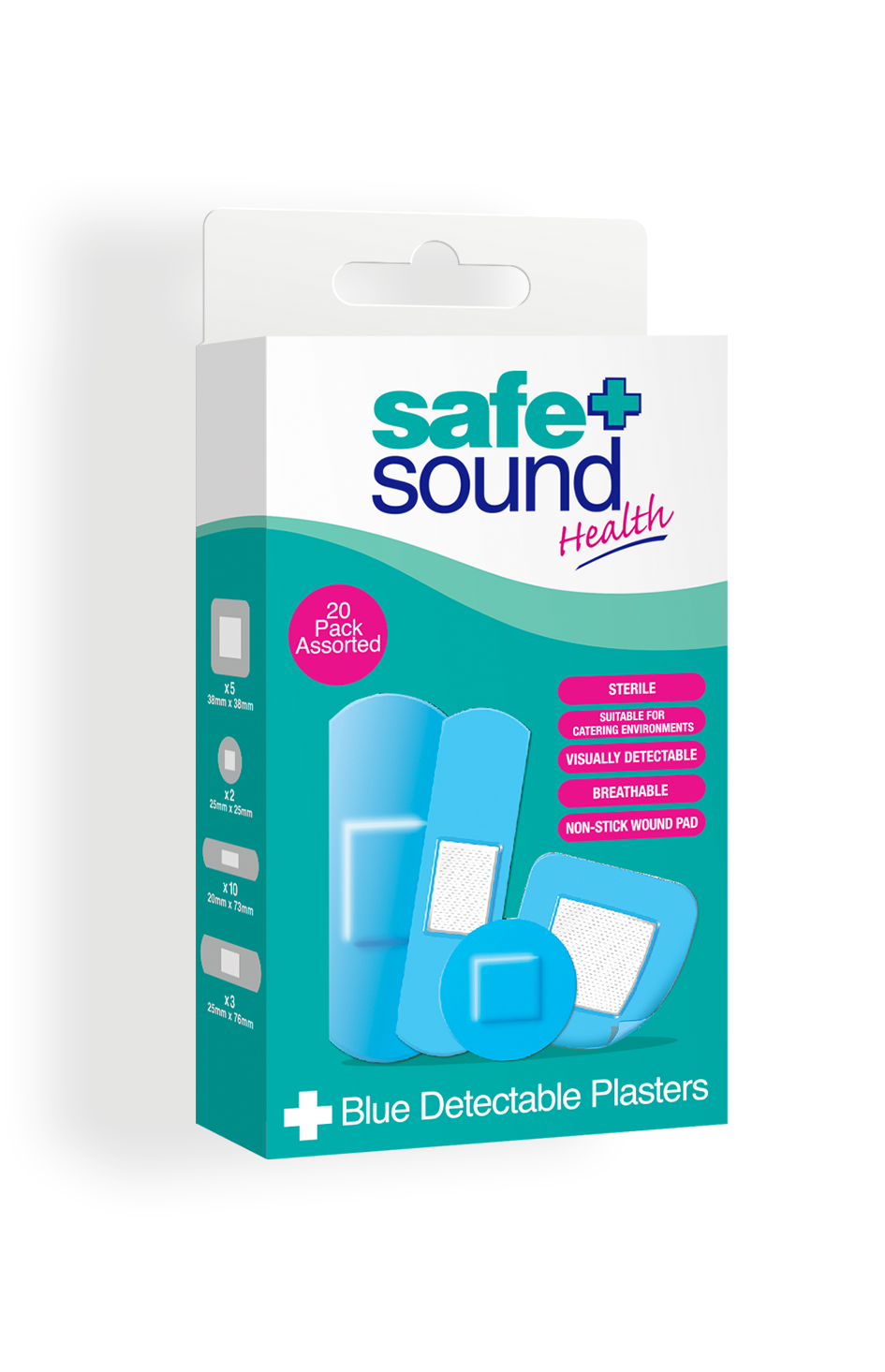 Safe and Sound Health pack of 20 Blue Detectable Catering Plasters