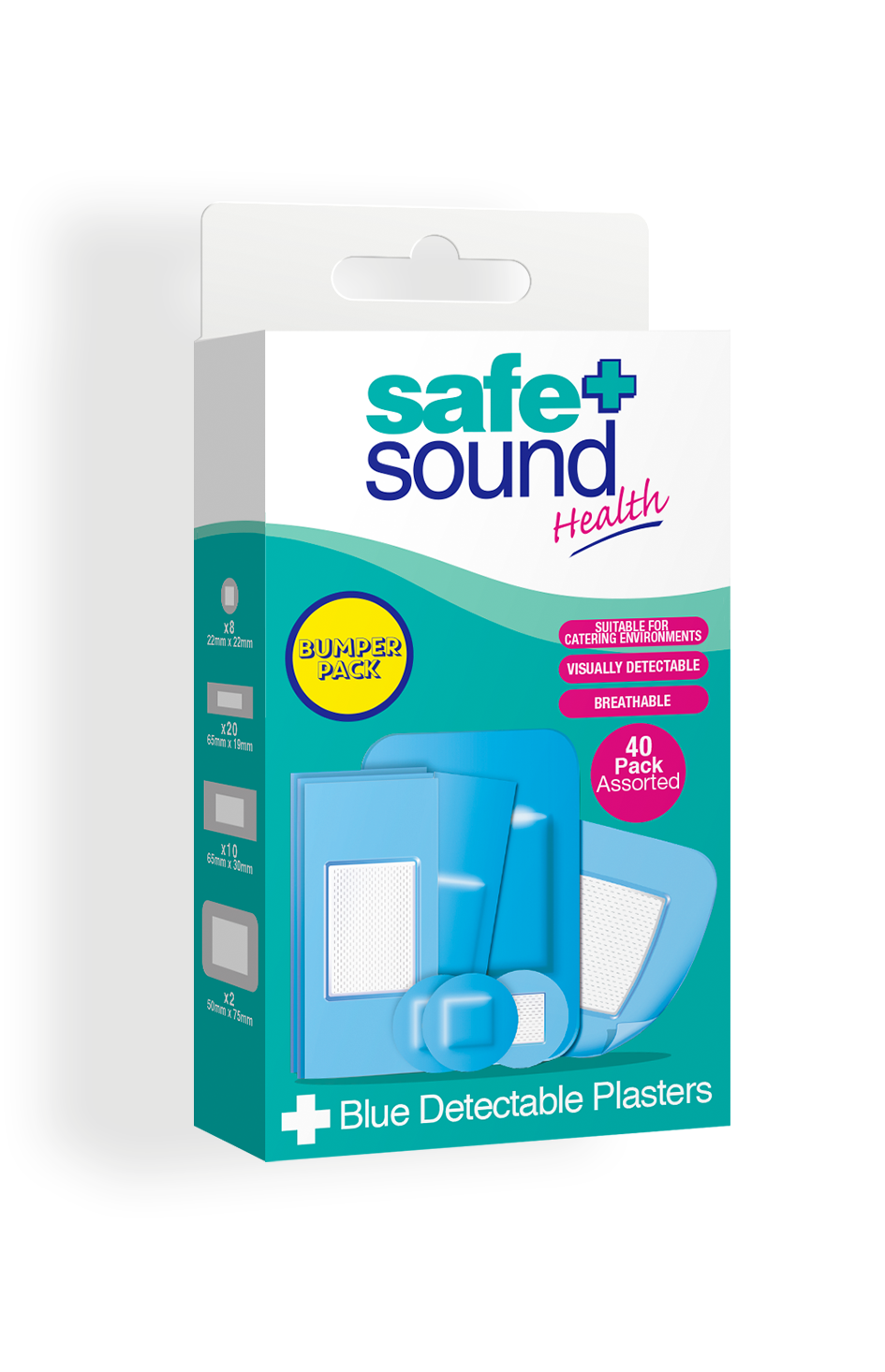 Safe and Sound Health pack of 40 Detectable Blue Catering Plasters
