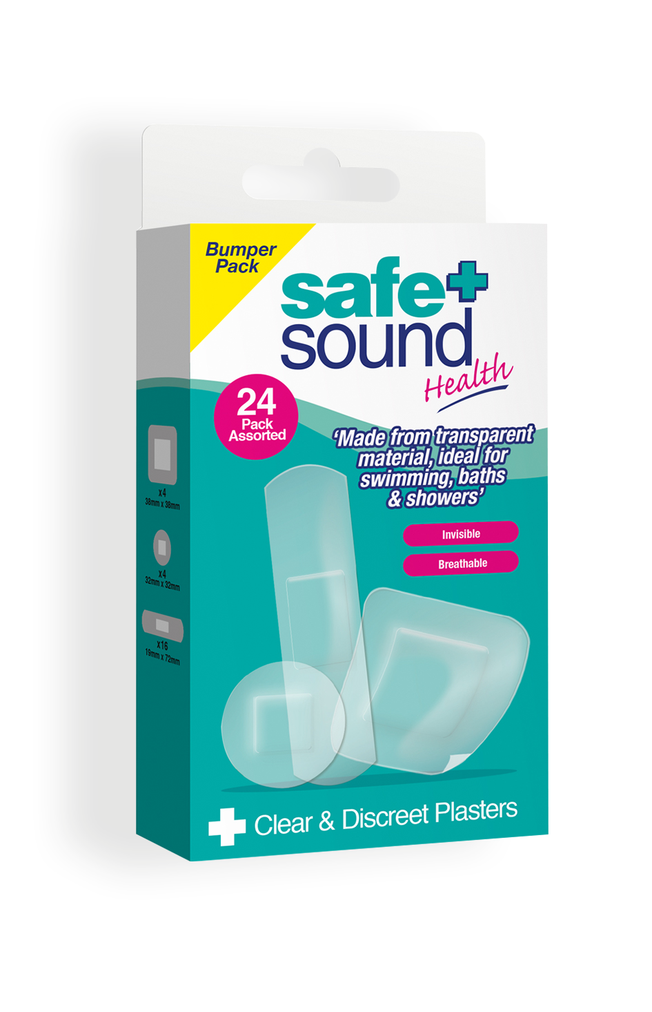 Safe and Sound Health pack of 24 Clear and Discreet Transparent Plasters