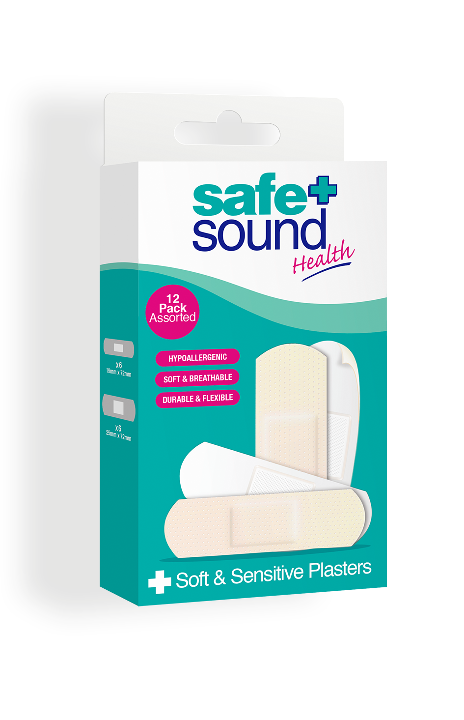 Safe and Sound Health pack of 12 Soft and Sensitive Plasters for sensitive skin