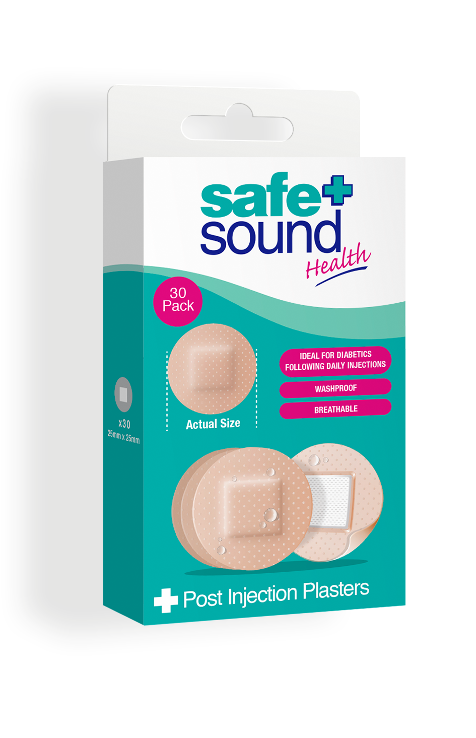 Safe and Sound Health pack of 30 Washproof Injection and Spot Plasters