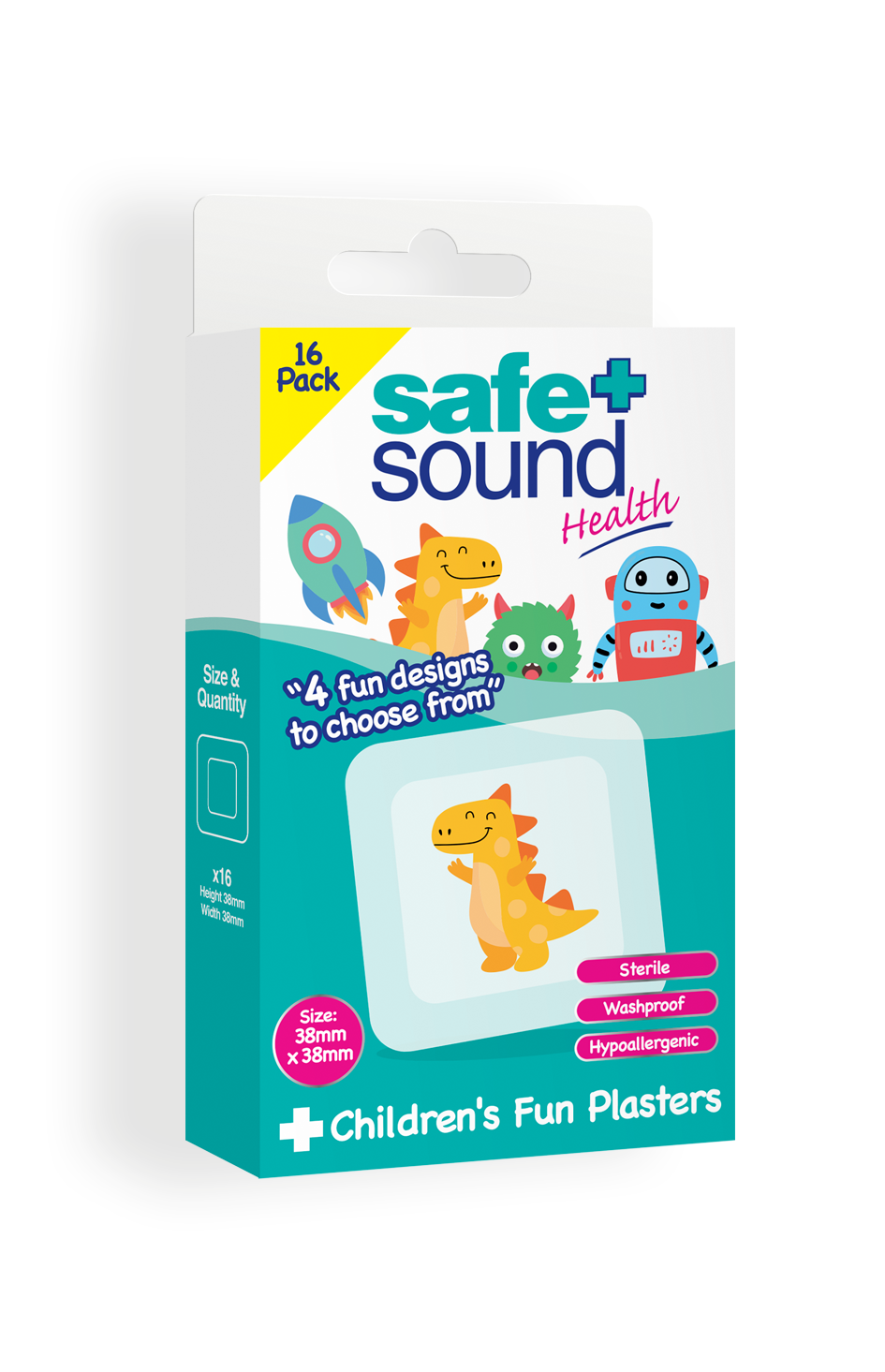 Safe and Sound Health Kid Fun Plasters – Dinosaur, Monster, Robot & Spaceship Design