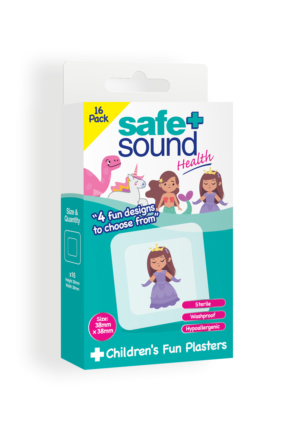 Safe and Sound Health's Kid Fun Plasters – Unicorn, Dinosaur, Mermaid & Princess Design