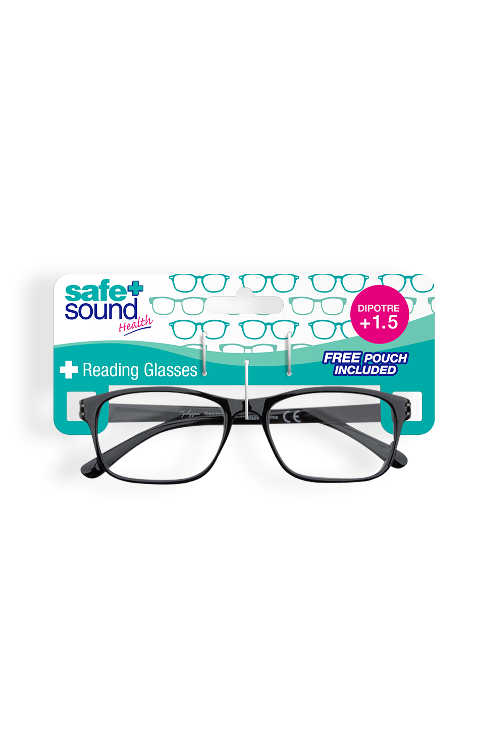 Safe and Sound Health Wayfarer Style Reading Glasses 1.5 Dioptre