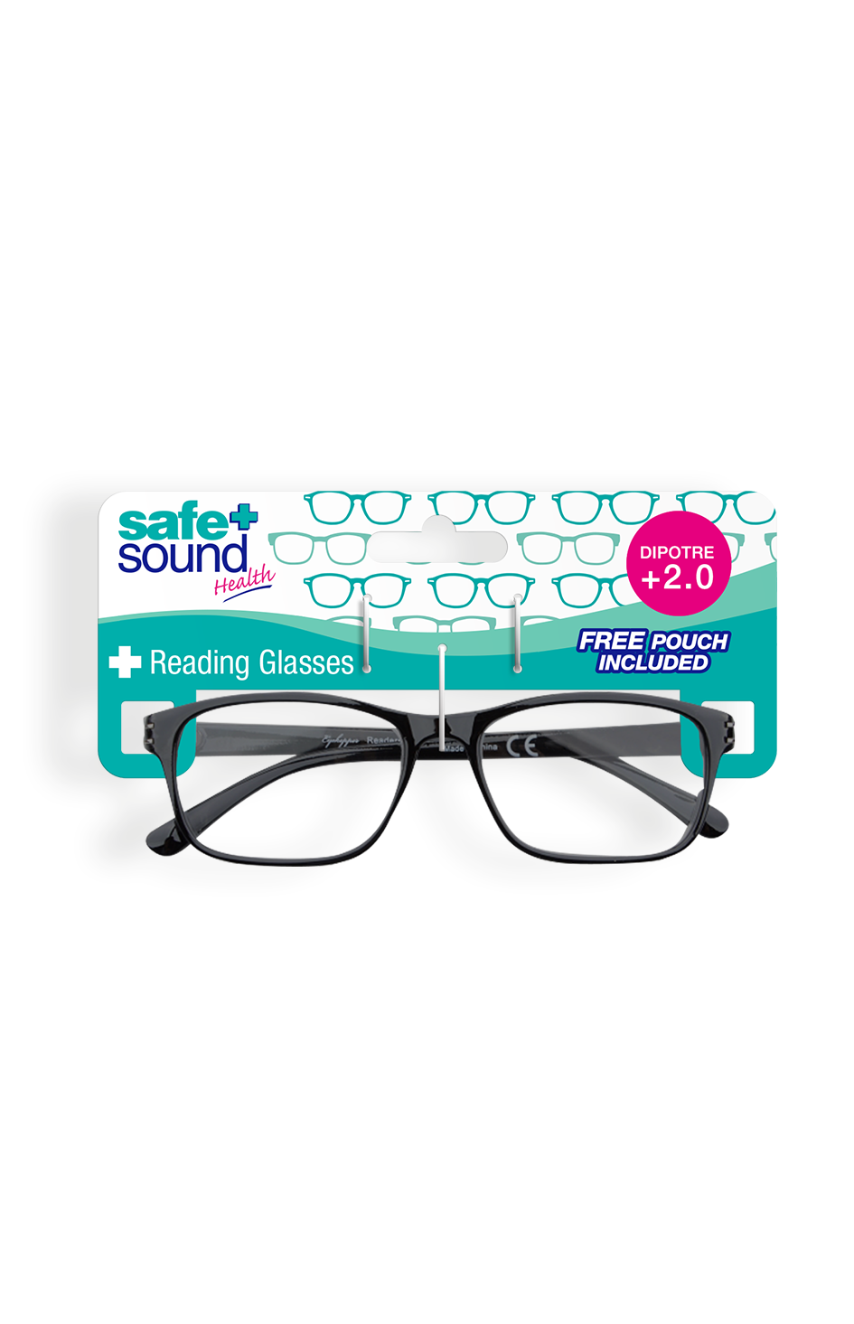 Safe and Sound Health Wayfarer Style Reading Glasses 2.0 Dioptre