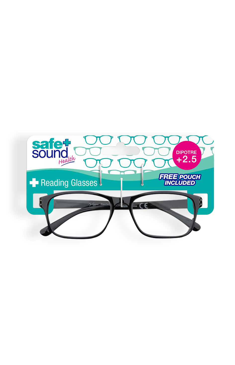 Safe and Sound Health Wayfarer Style Reading Glasses 2.5 Dioptre