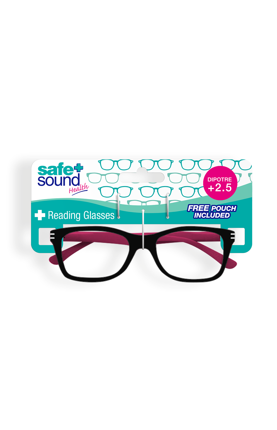 Safe and Sound Health Two-Tone Matt Black Reading Glasses 2.5 Dioptre