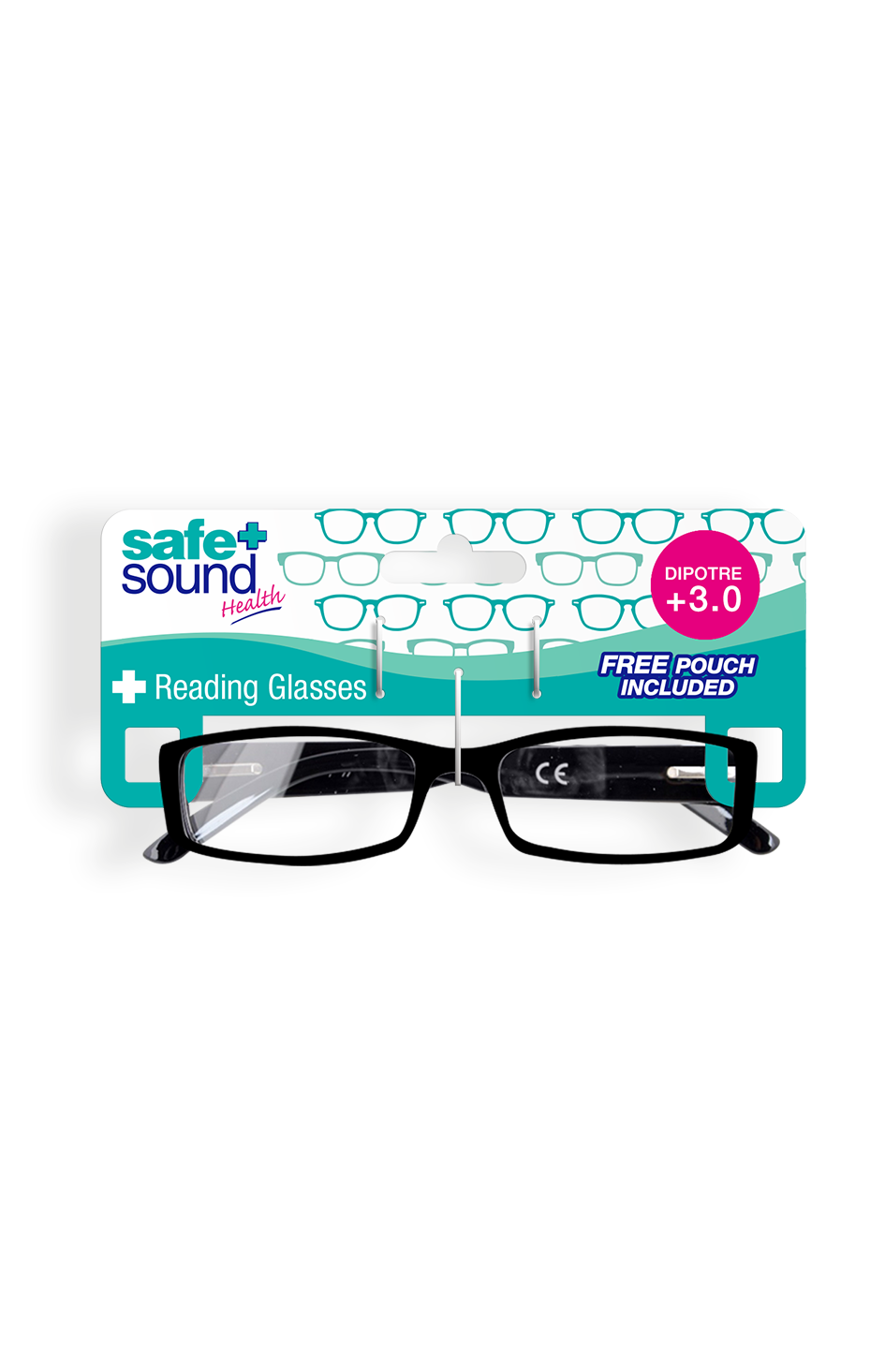 Safe and Sound Health Rectangle Gloss Reading Glasses 3.0 Dioptre