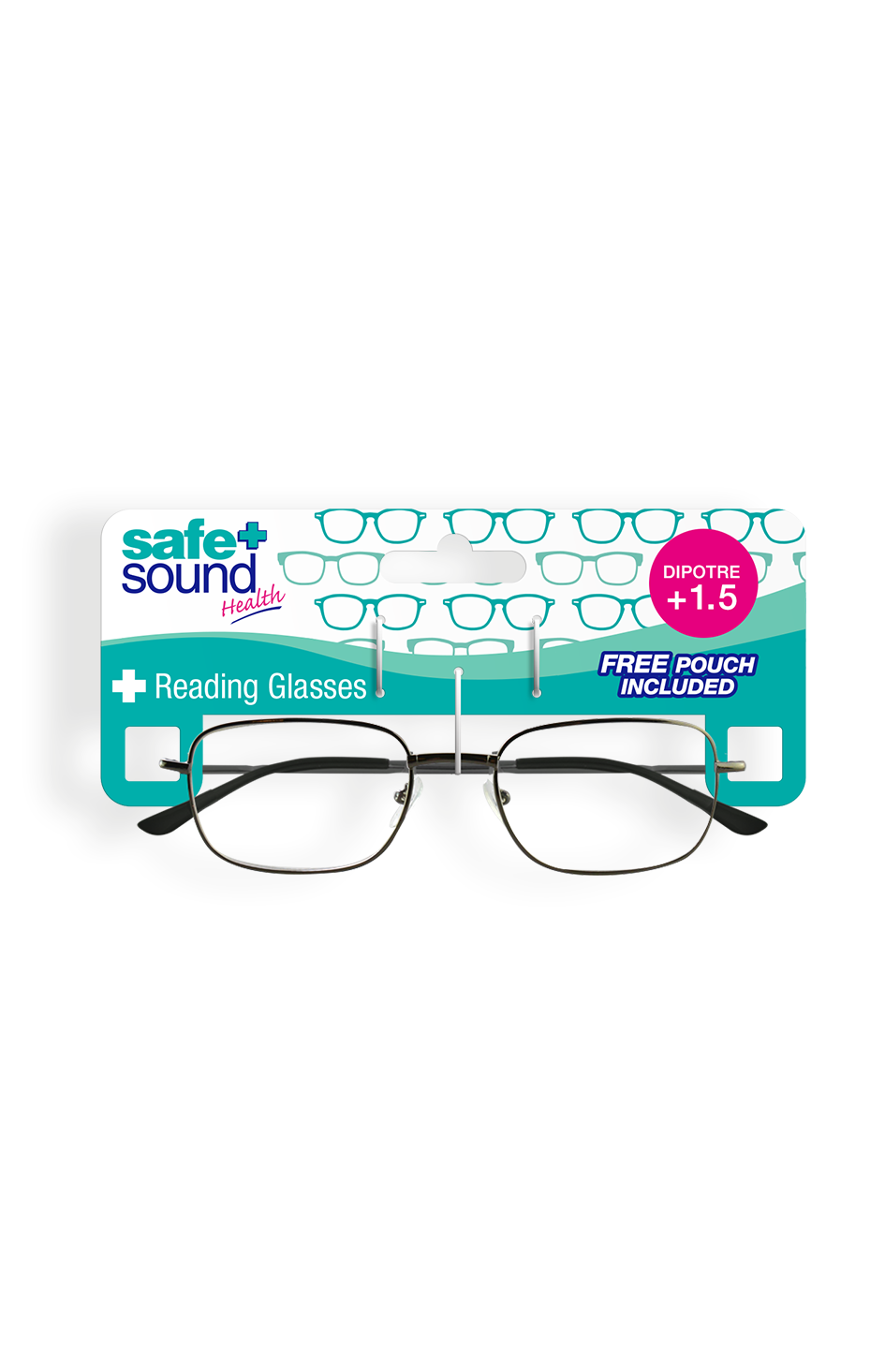 Safe and Sound Health Matt Black Reading Glasses 1.5 Dioptre