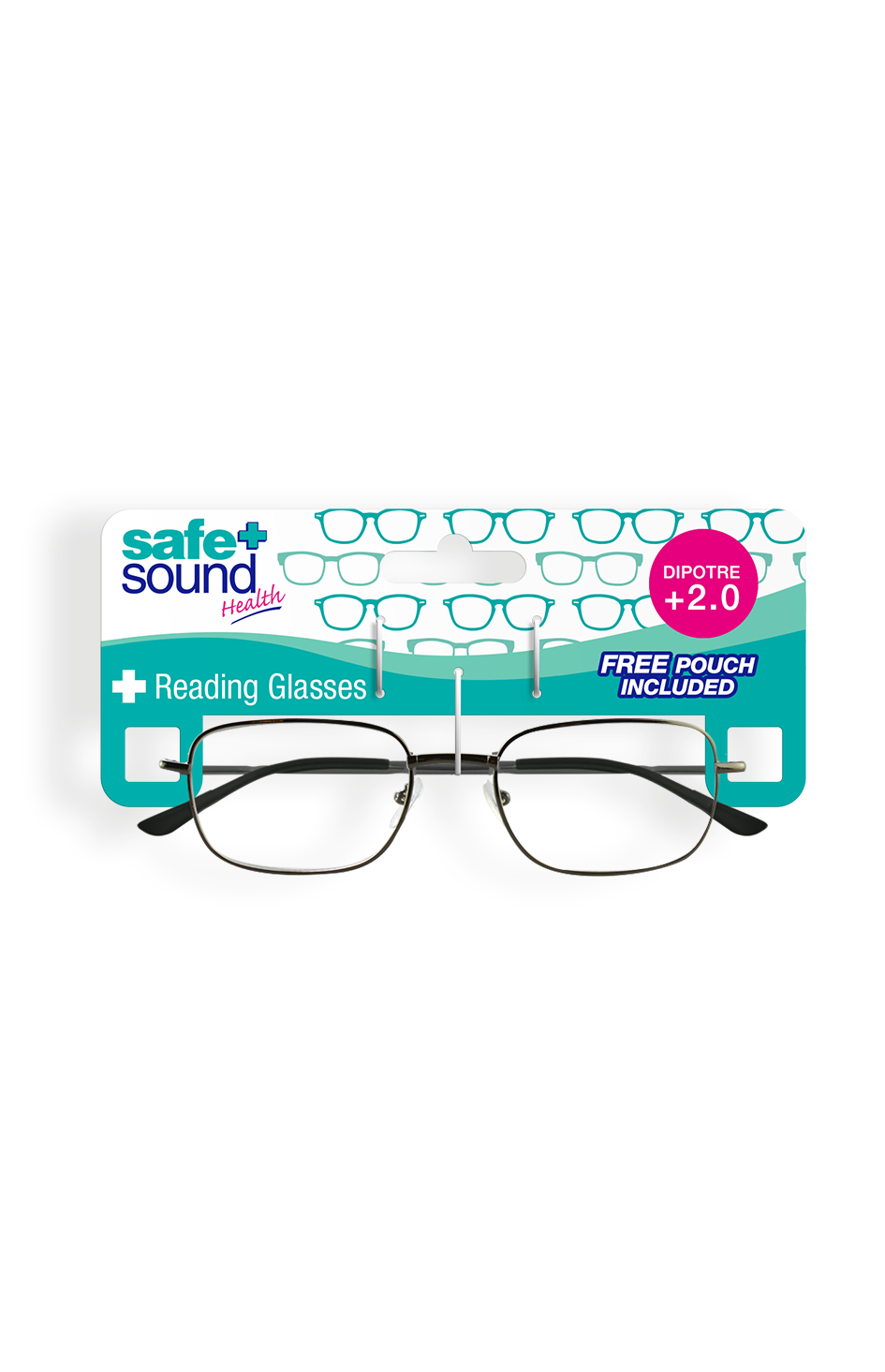 Safe and Sound Health Matt Black Reading Glasses 2.0 Dioptre