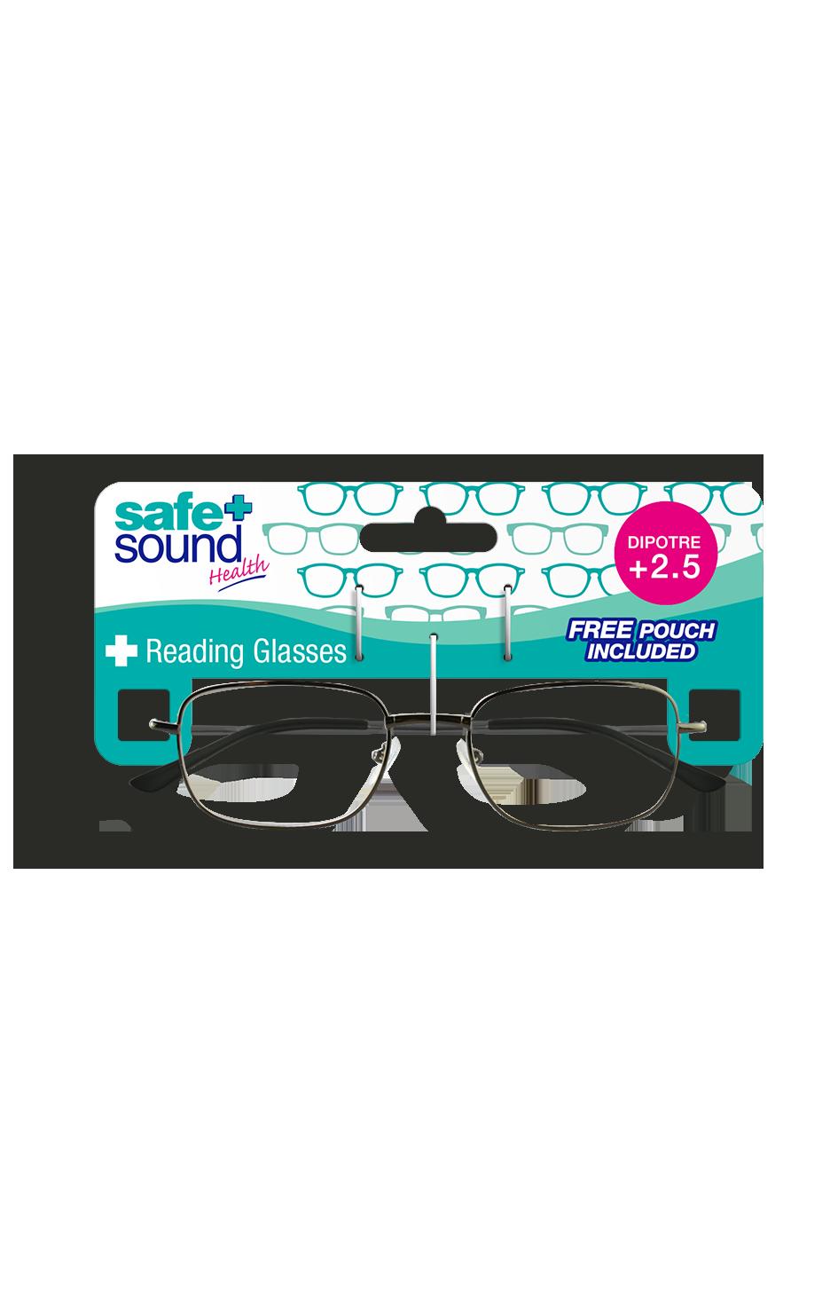 Safe and Sound Health Matt Black Reading Glasses 2.5 Dioptre