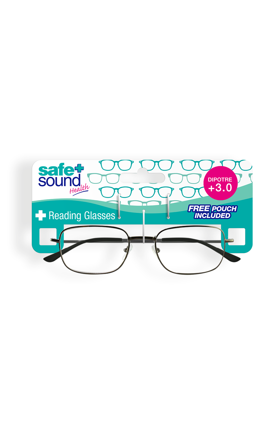 Safe and Sound Health Matt Black Reading Glasses 3.0 Dioptre