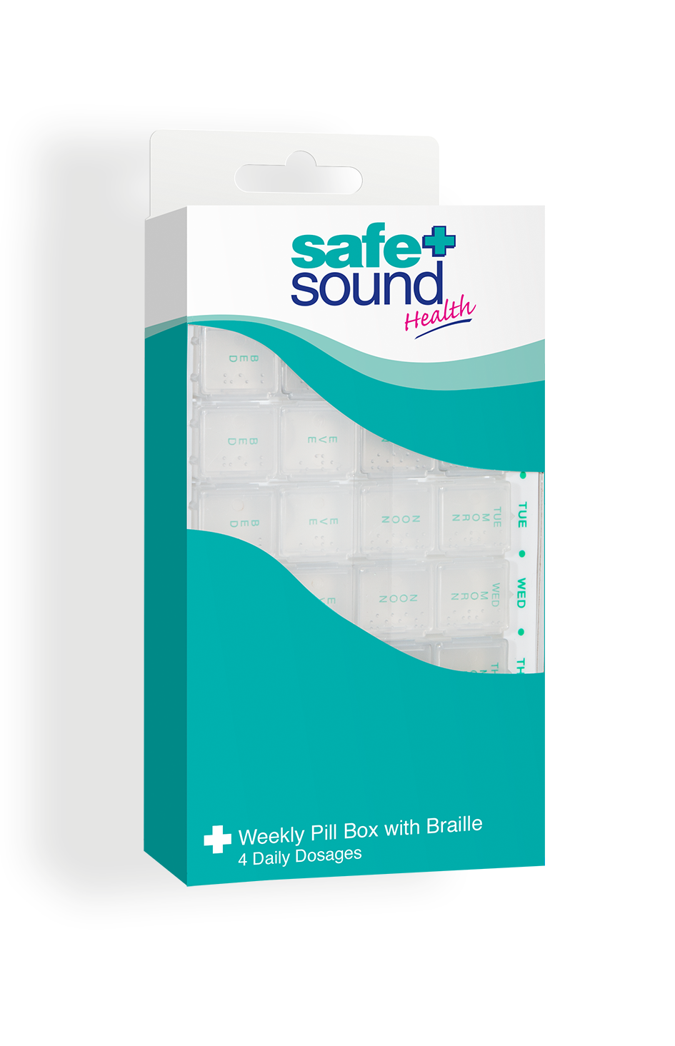 Safe and Sound Health Four-Times-Daily Weekly Pillbox with Braille