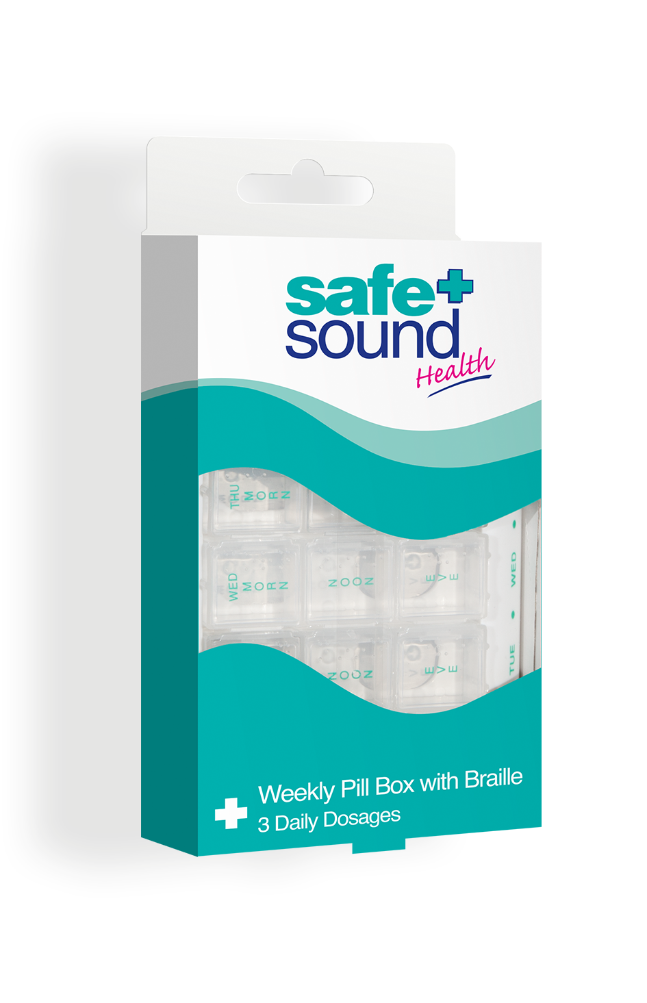 Safe and Sound Health Three-Times Daily 7 day Pillbox with Braille