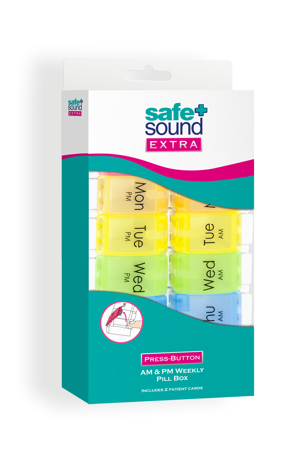 Safe and Sound Health AM & PM Weekly Press Button Pillbox