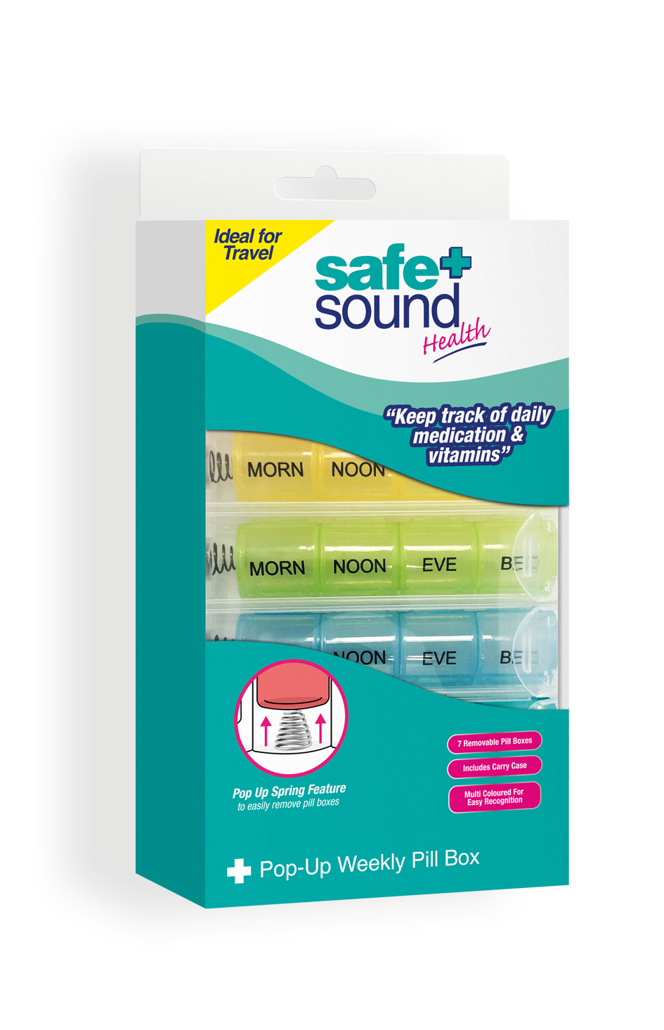 Safe and Sound Health Four Times Daily Pillbox with Case