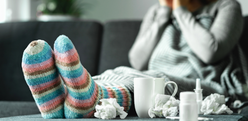 Women struggling with cold and flu